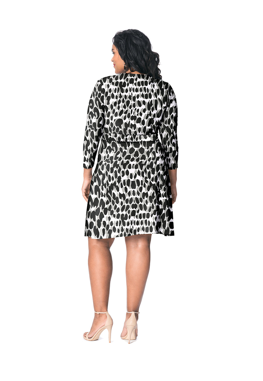 Perfect Wrap Dress  in Painted Leopard Grey (Curve)