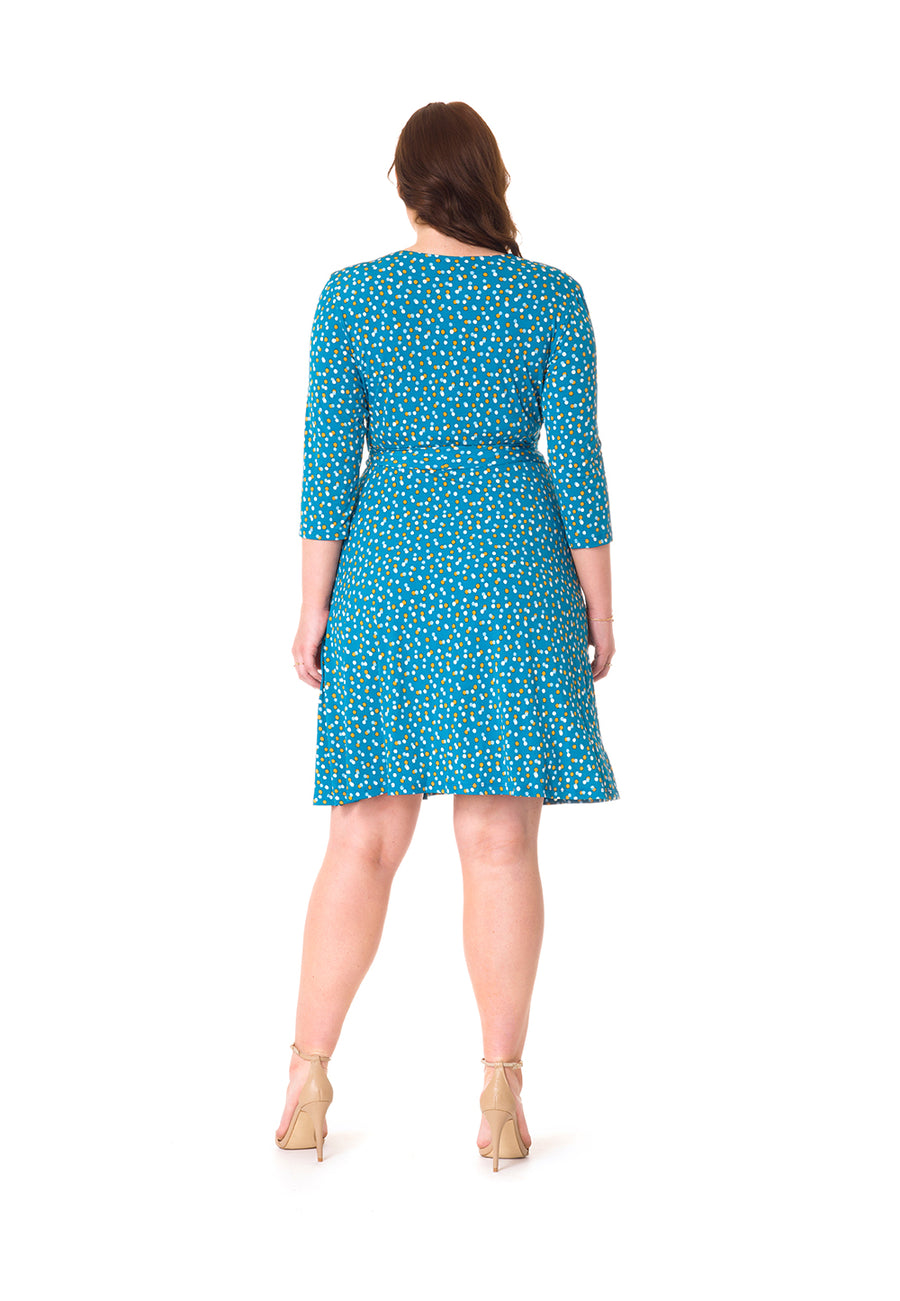 Perfect Wrap Dress  in Twilight Dot Ocean Depths Blue (Curve)