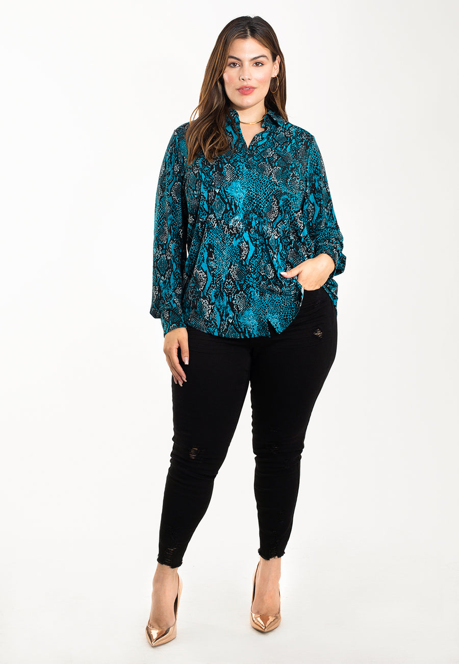 Jada Blouse in Snake Crystal Teal