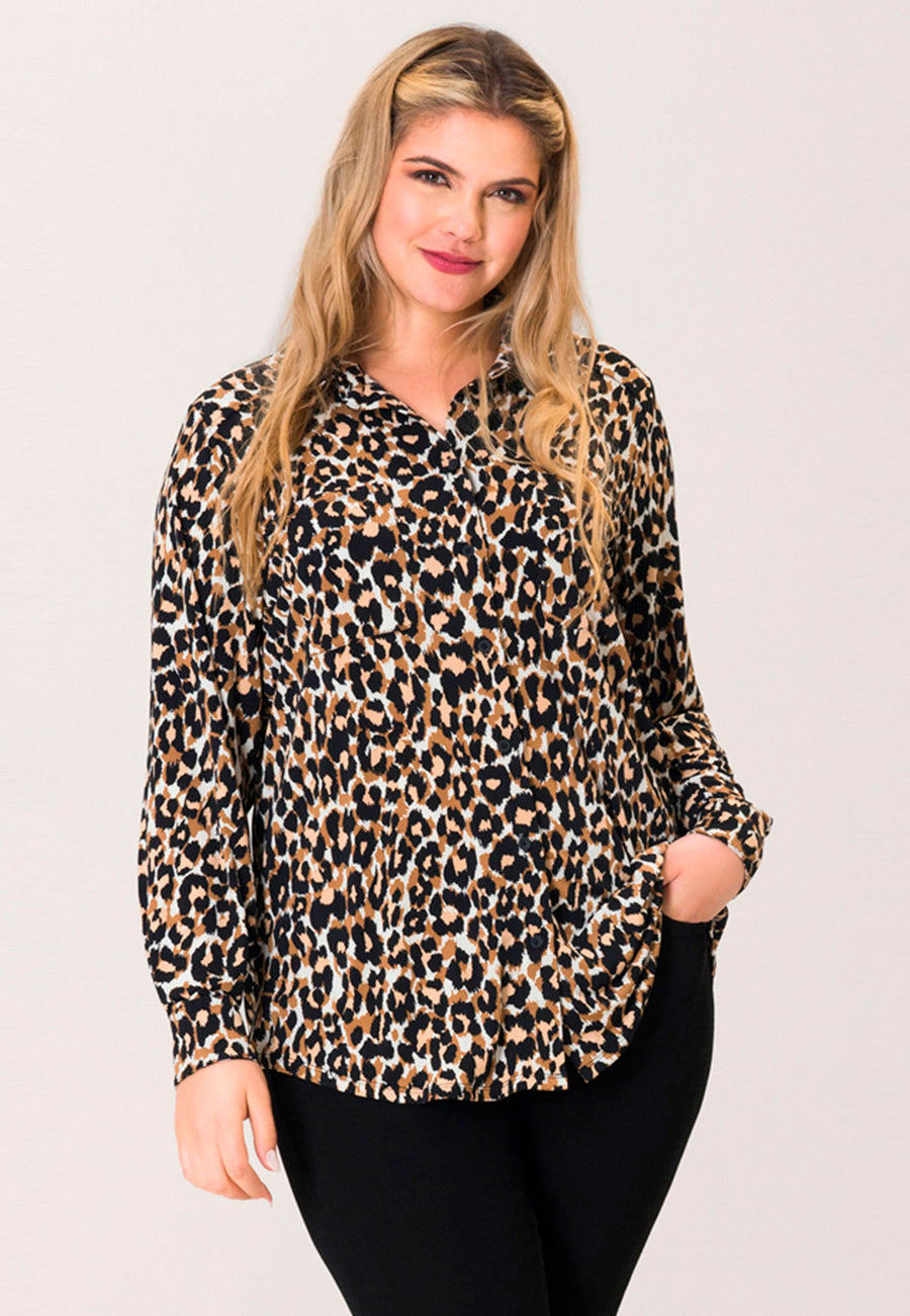 Jada Blouse  in Leo Ginger Root Brown (Curve)