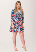 Perfect Wrap Mini Dress  in Patchwork Blue (Curve)