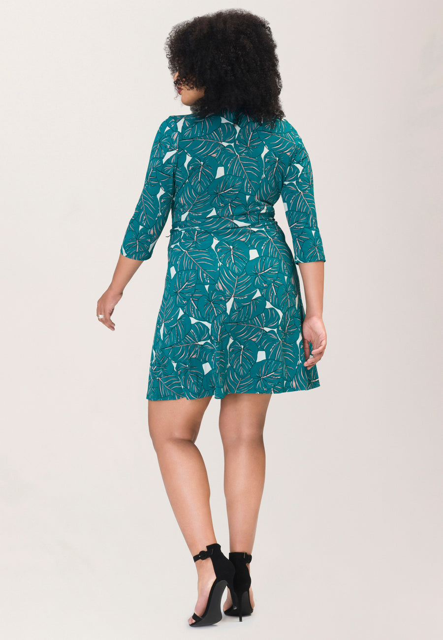 Perfect Wrap Mini Dress  in Rainforest Green (Curve)