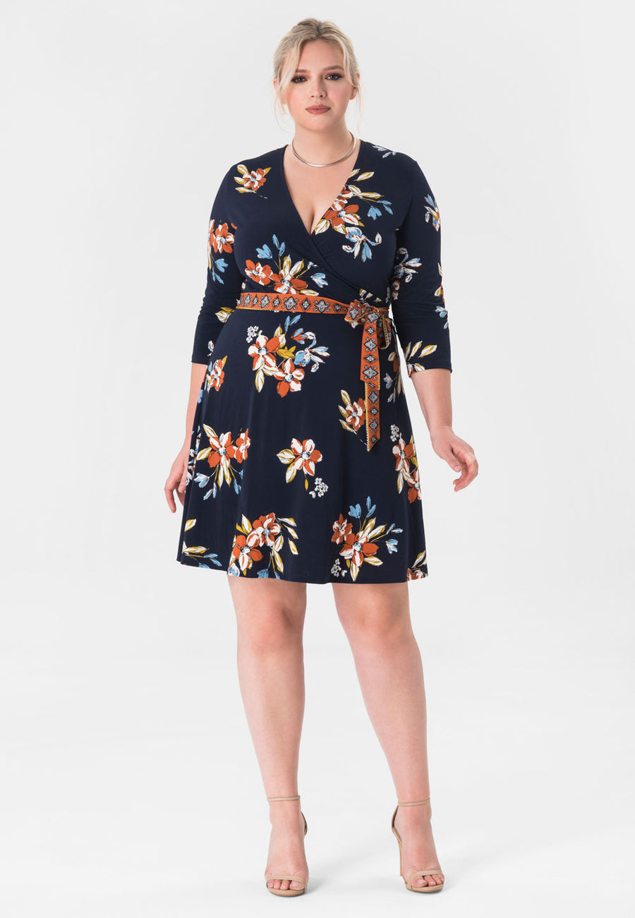 Perfect Wrap Mini Dress  in Santa Barbara Floral Blue (Curve)