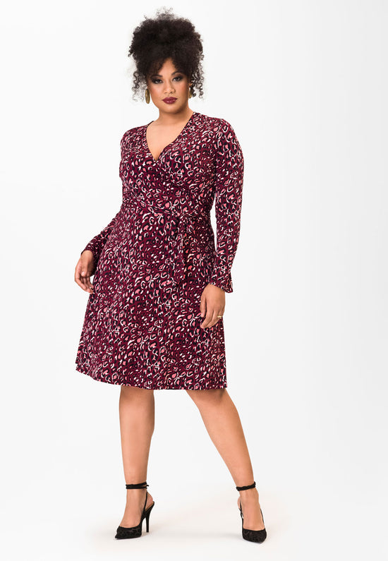 Long Sleeve Perfect Wrap Dress in Bold Cheetah Cabaret (Curve)