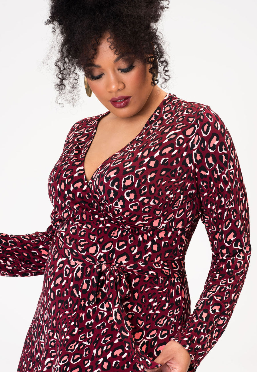 Long Sleeve Perfect Wrap Dress in Bold Cheetah Cabernet (Curve)
