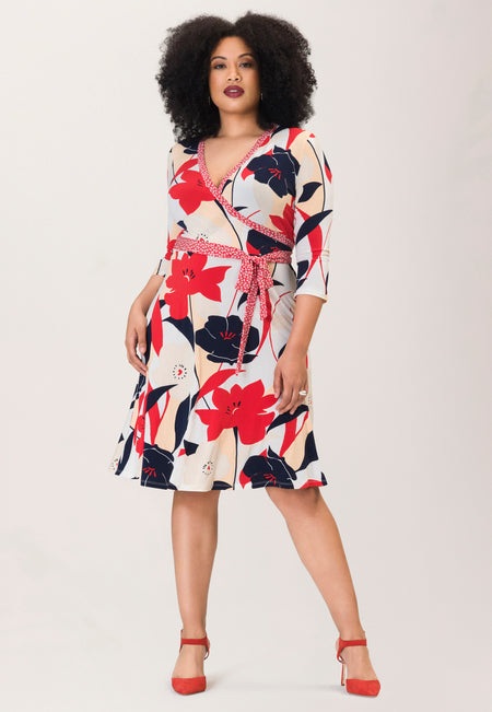Banded Perfect Wrap  Dress in Nautique Floral Red (Curve)