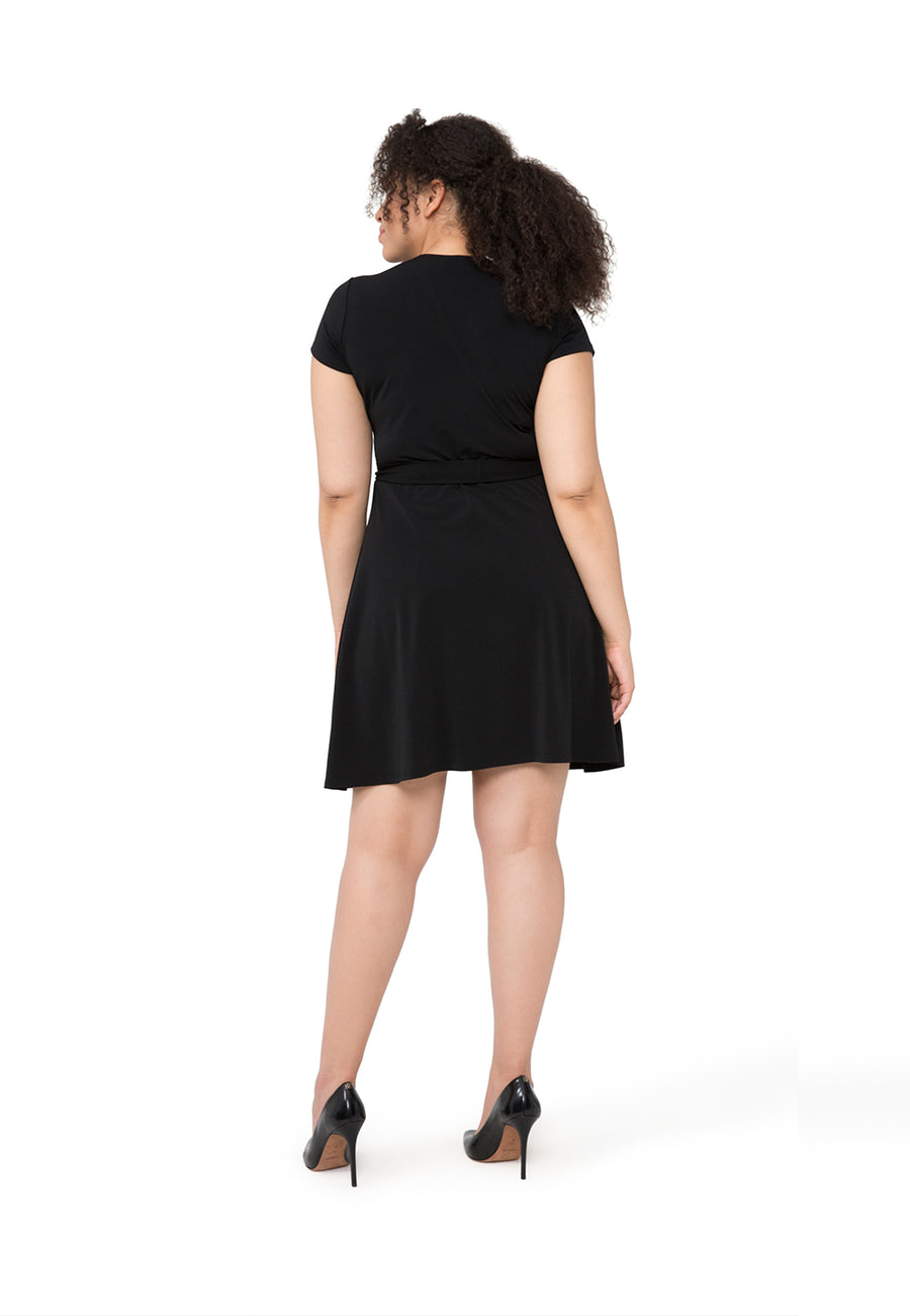 Cap Sleeve Circle Wrap Dress in Black Crepe (Curve)