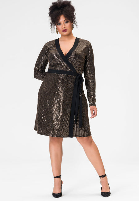 Kara Dress in Gold Sequin (Curve)