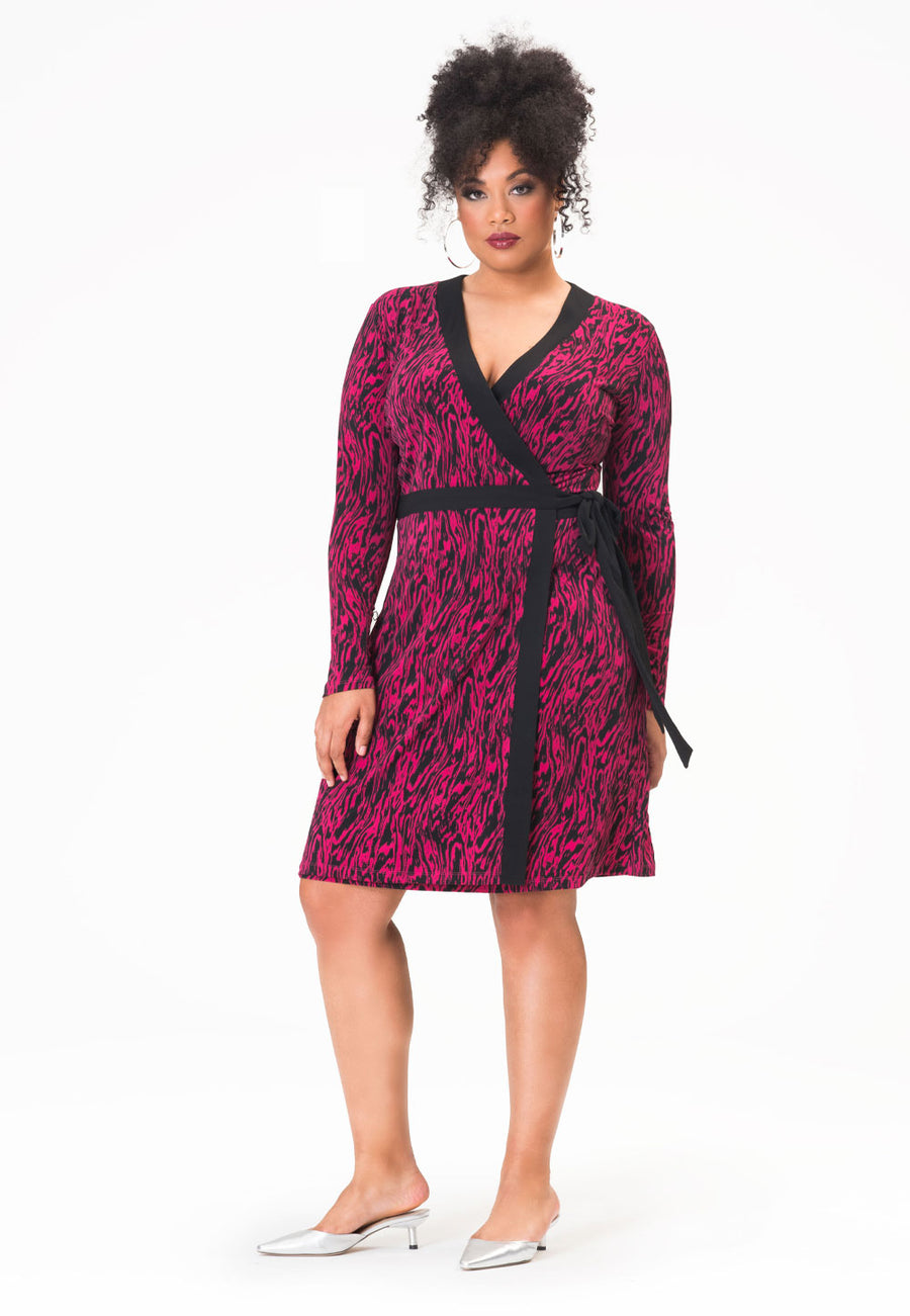 Kara Dress in Zebra Vivacious Pink (Curve)