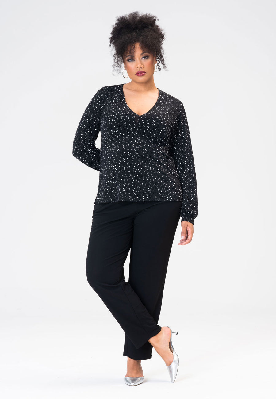 Aubree Tunic in Starry Night Black (Curve)