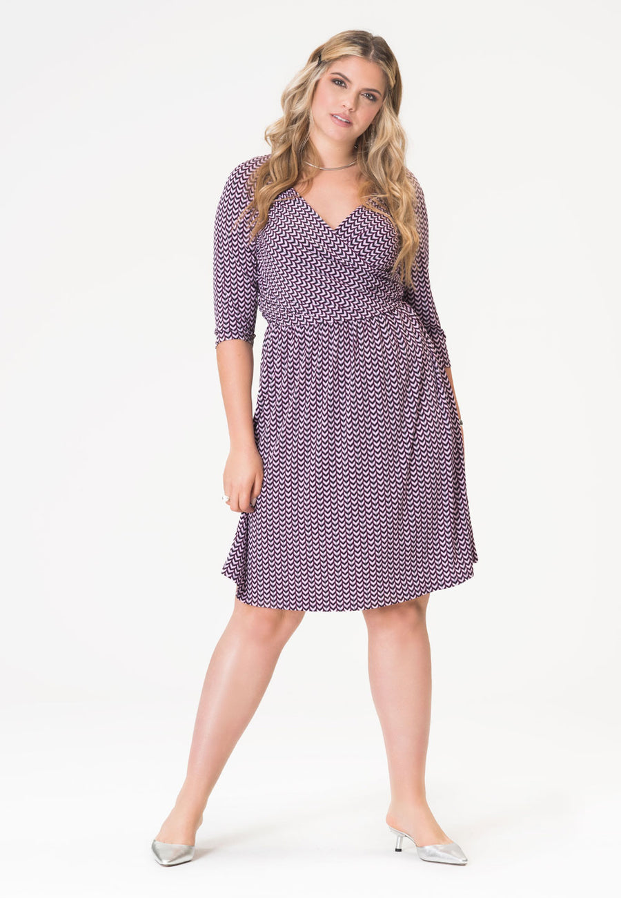 Sweetheart A-Line Dress in Striped Herringbone Purple (Curve)