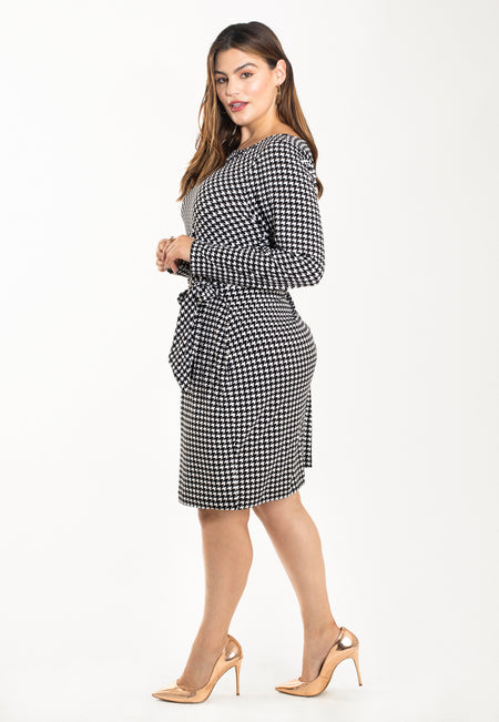 Reese Dress in Houndstooth Black