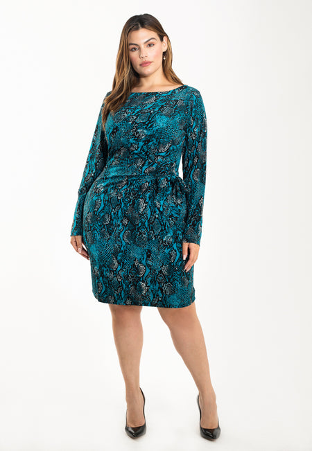 Reese Dress in Snake Crystal Teal