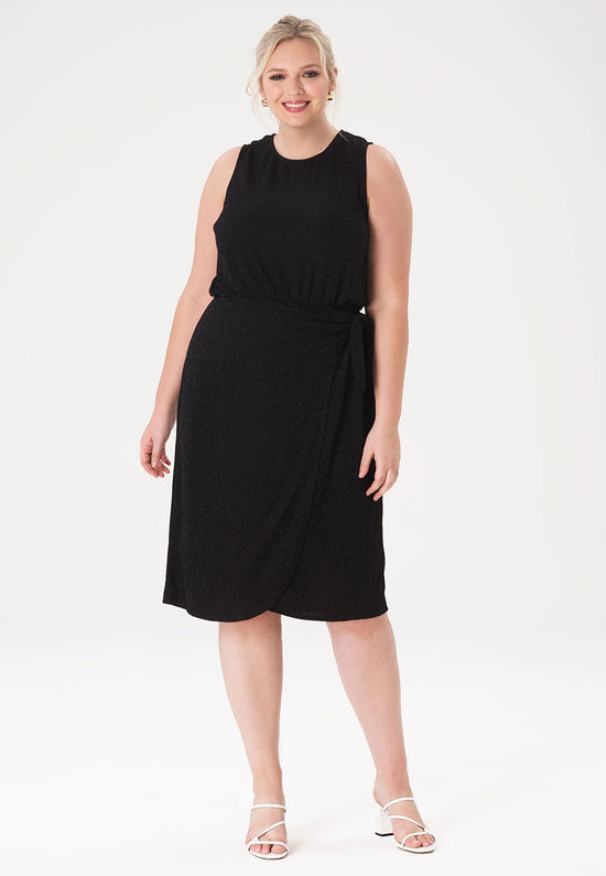 Helene Dress in Tonal Cheetah Black (Curve)