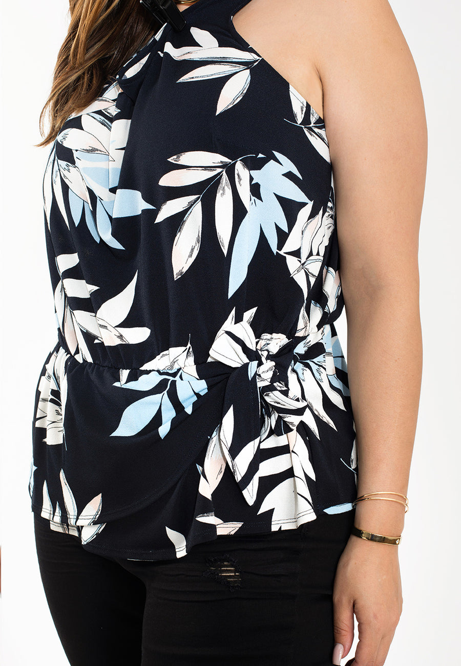 Helene Top in Pastel Leaves