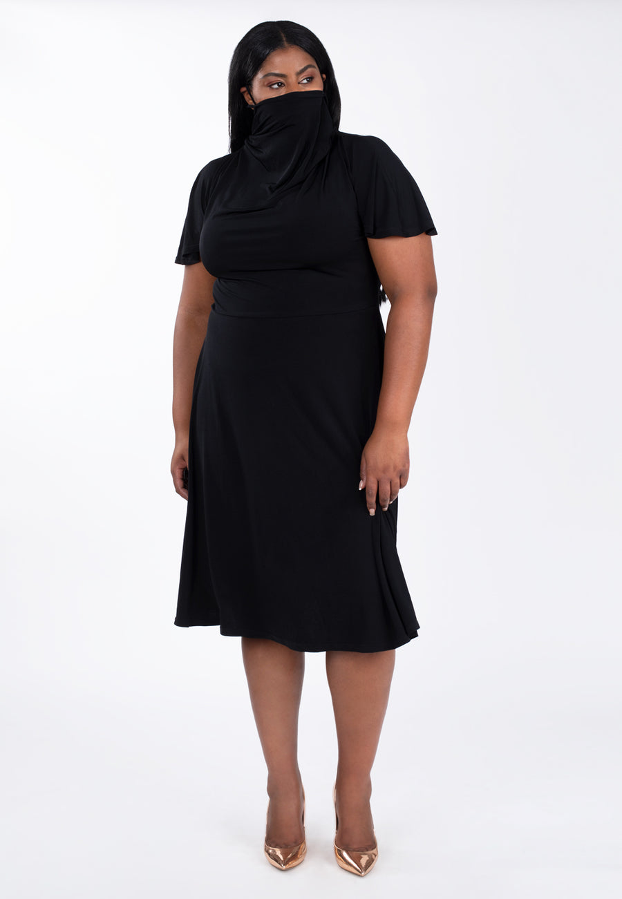 Face Cover Dress in Black