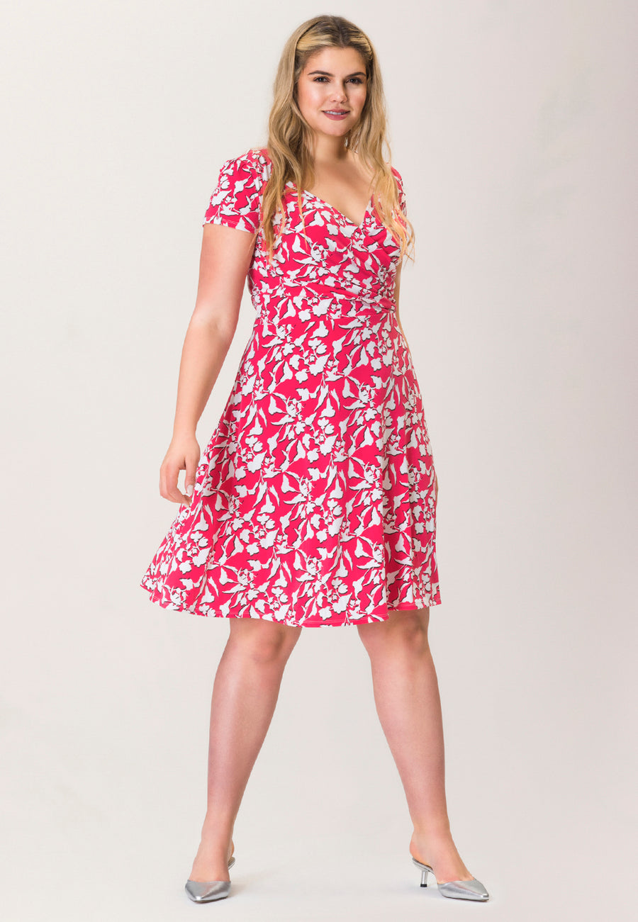 Sweetheart A-Line Dress in Amazonia Floral Pink (Curve)