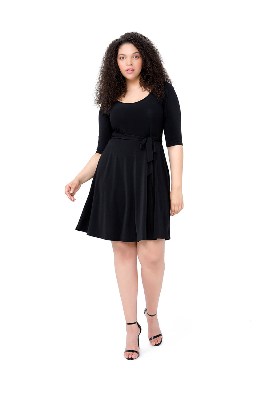 Ilana  A-Line Dress in Black Crepe (Curve)