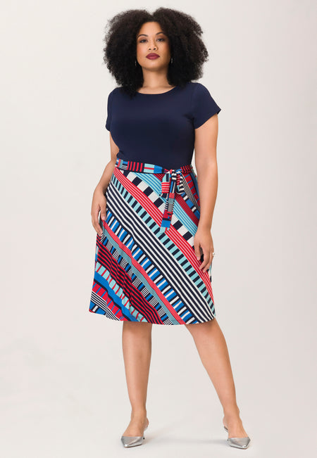 Ilana Cap Sleeve Dress in Nautical Flag (Curve)