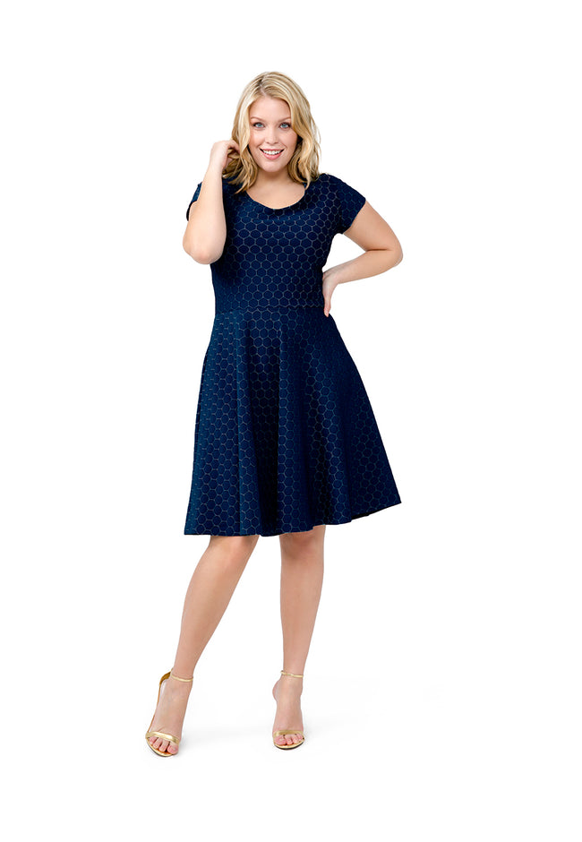 Circle Dress in Classic Navy Luxe Jacquard (Curve)