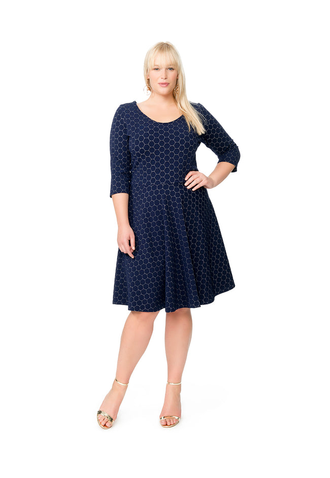 Circle Dress with Bracelet Sleeve in Classic Navy Luxe Jacquard (Curve)