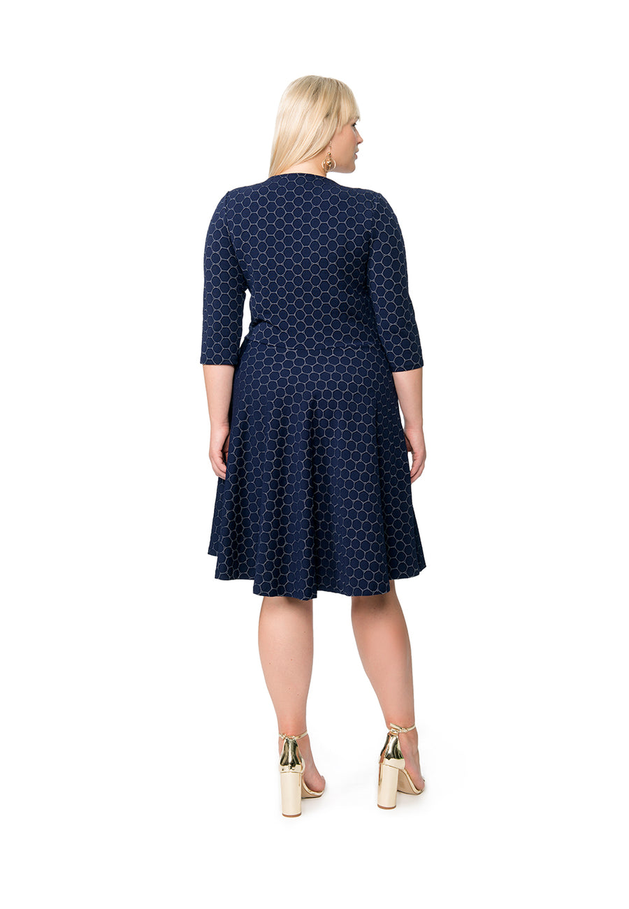 Bracelet Sleeve A-Line Dress in Classic Navy Luxe Jacquard Blue (Curve)