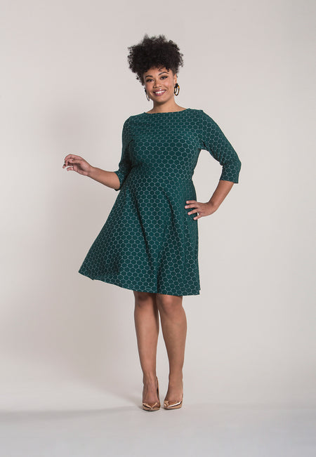 Circle Dress with Bracelet Sleeve in Bontanical Luxe Jacquard (Curve)