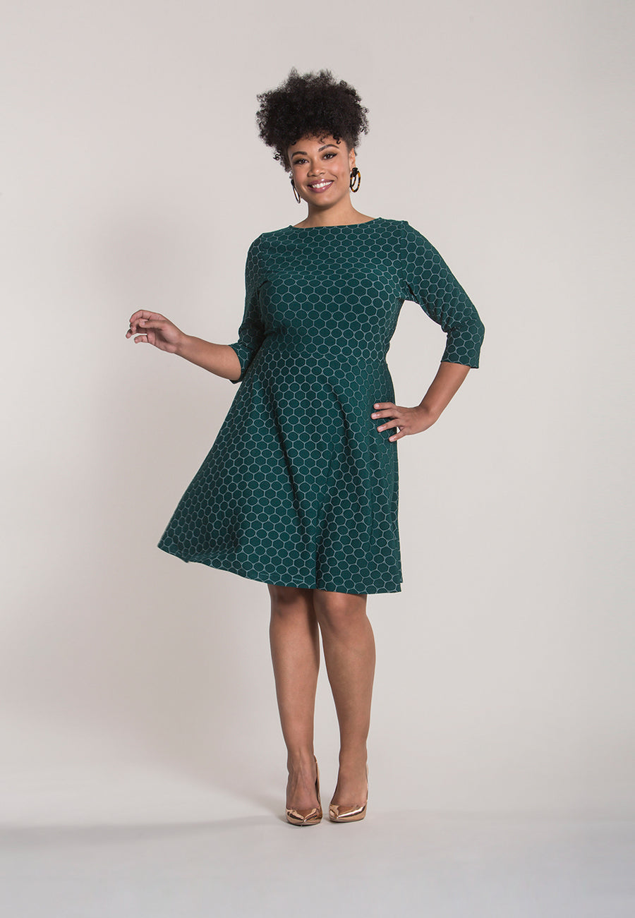 Bracelet Sleeve A-Line  Dress in Botanical Luxe Jacquard Green (Curve)