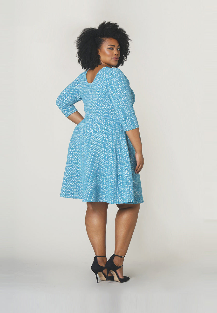 Circle  A-Line Dress in Belissimo Jacquard Blue (Curve)