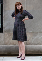 Circle Dress with Bracelet Sleeve in Geo Jacquard Rhododendron (Curve)