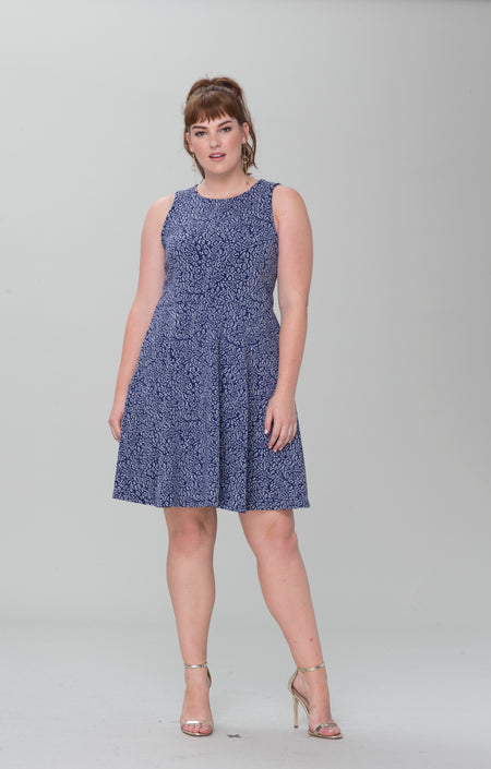 Ava A-Line Dress in Blooming Royal