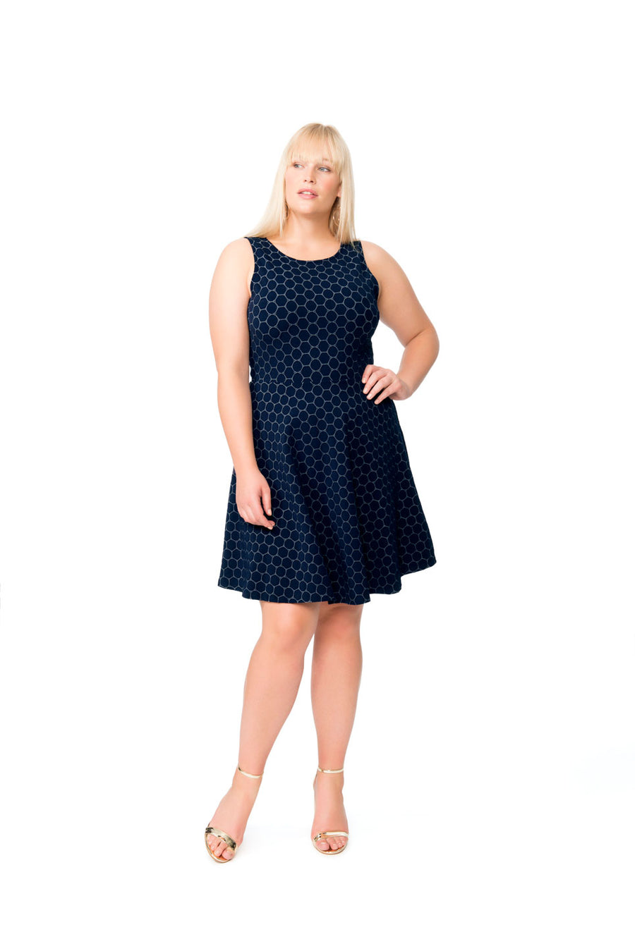 Ava A-Line Dress in Classic Navy Luxe Jacquard