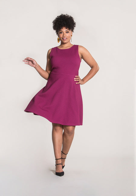Ava A-Line Dress in Honeycomb Pink (Curve)