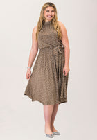 Mindy Shirred  Midi Dress in Confetti Dot Chocolate Chip Brown (Curve)