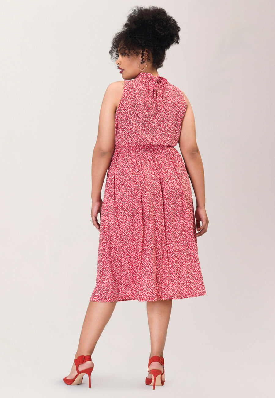 Mindy Shirred  Midi Dress in Flock Red (Curve)