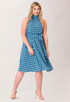 Mindy Shirred  Midi Dress in Mod Geo Blue (Curve)