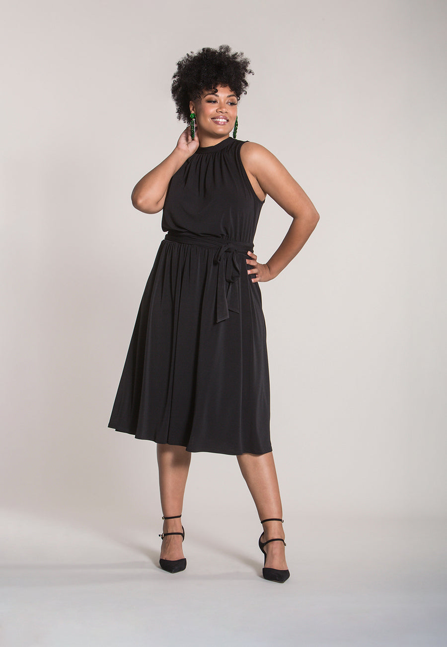 Mindy Shirred  Midi Dress in Black Crepe (Curve)