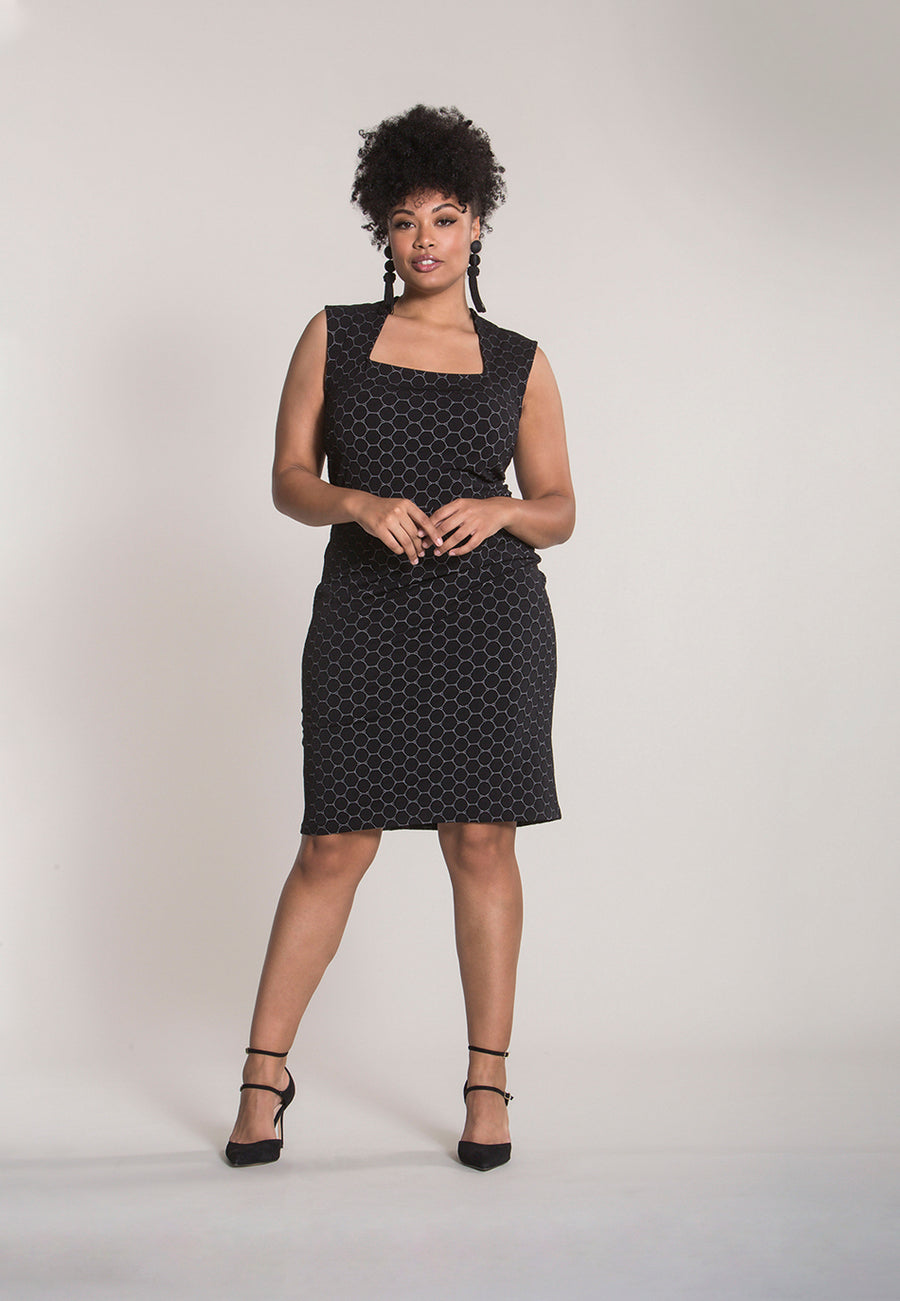 Eve  A-Line Dress in Black Luxe Jacquard (Curve)