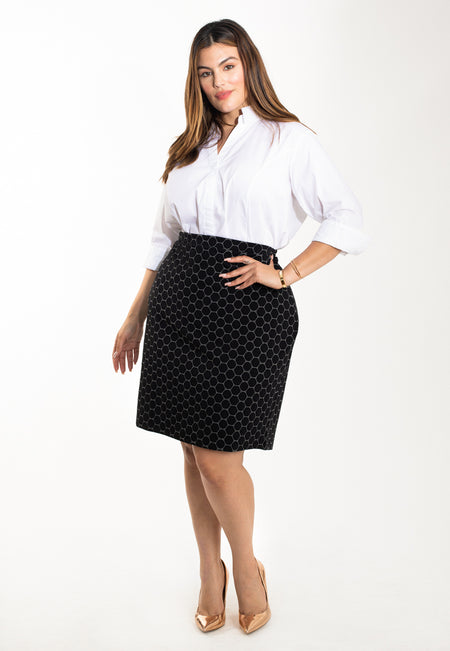 Pencil Skirt in Black Luxe Jacquard (Curve)