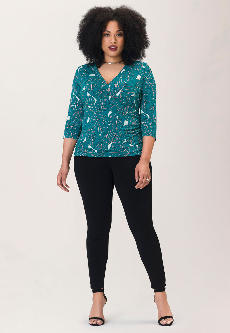 Rouched Wrap Top  in Rainforest Green (Curve)