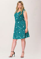 Tara A-Line Dress in Rainforest Green (Curve)