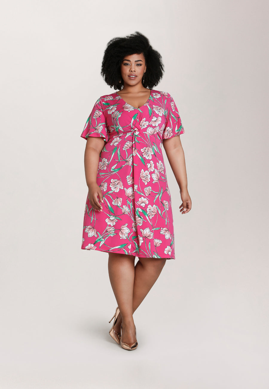 Betty Flutter  Midi Dress in Wild Tulip Pink (Curve)