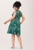 Eve  A-Line Dress in Jungle Green (Curve)