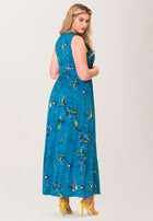 Athena Maxi Dress in Chirp Mykonos Blue (Curve)