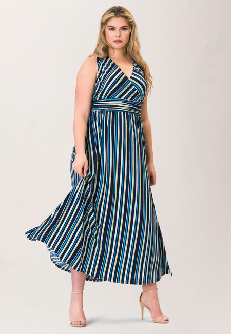 Athena Maxi Dress in Poolside Stripe Blue (Curve)