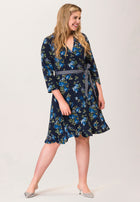 Perfect Wrap Ruffle Hem Dress  in Knock Out Classic Navy Blue