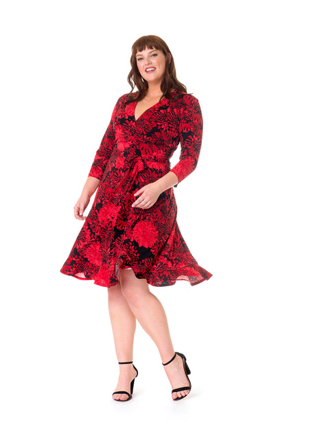 Perfect Wrap Ruffle Hem Dress in Flourish (Curve)