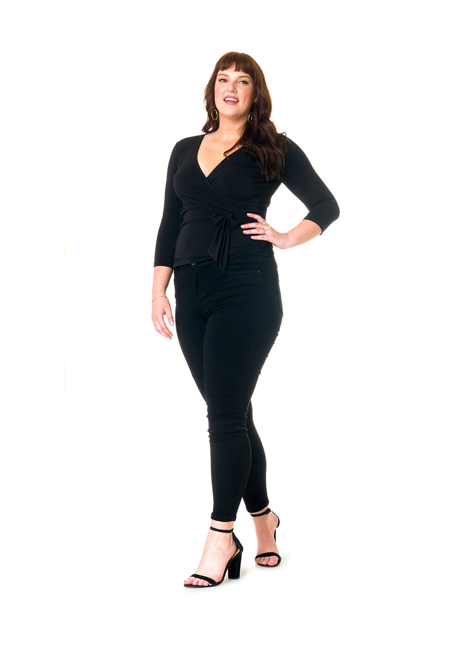 Perfect Wrap Top in Black Crepe (Curve)