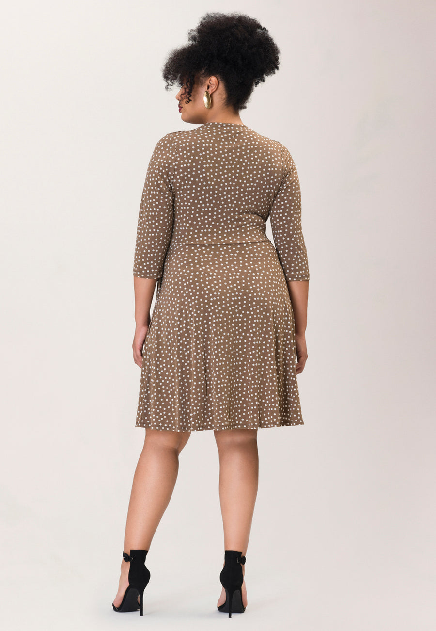 Sweetheart Wrap A-Line Dress in Confetti Dot Chocolate Chip Brown (Curve)