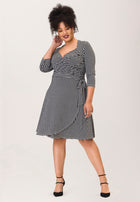 Sweetheart Wrap A-Line Dress in Houndstooth Black (Curve)